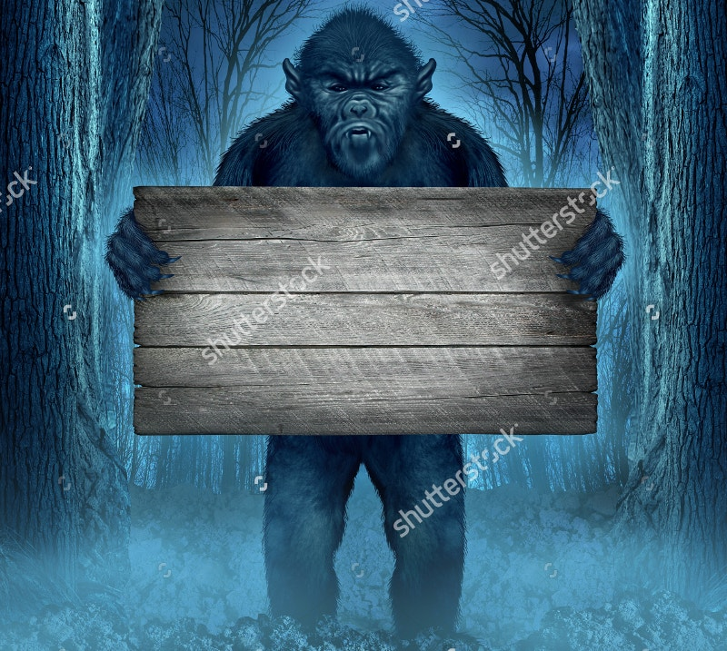 Monster Holding a Rustic Blank Old Wood Sign