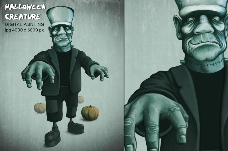 Digital Painting Halloween Monster Creature