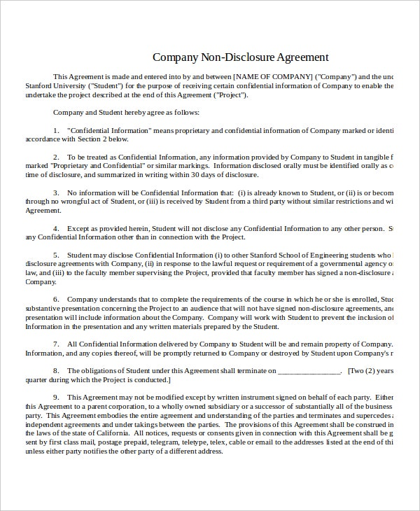 company non disclosure agreement