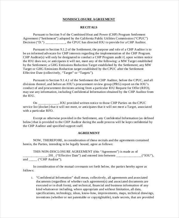 financial non disclosure agreement template