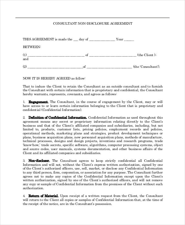 non disclosure agreement for consultants