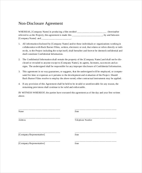 Non Disclosure Agreement   Free Word  Documents Download