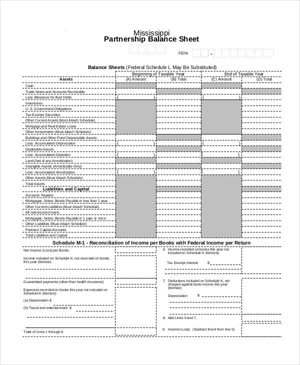 Partnership Balance Sheet Template
