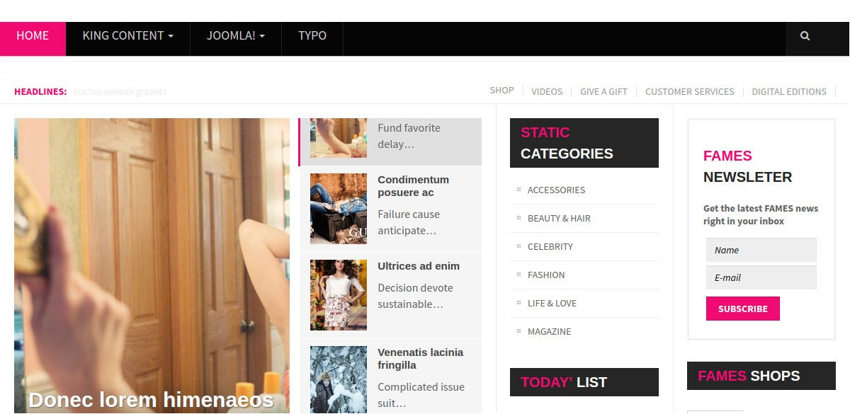 Fashion News Joomla Website Template $28