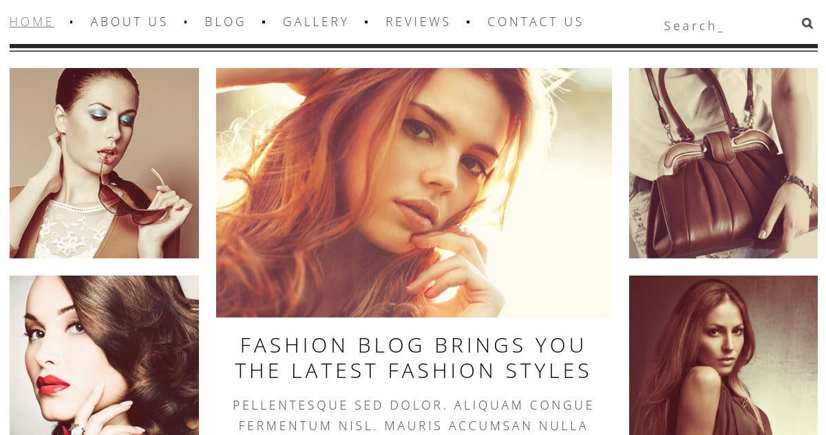 Beauty Fashion WordPress Website Template $75