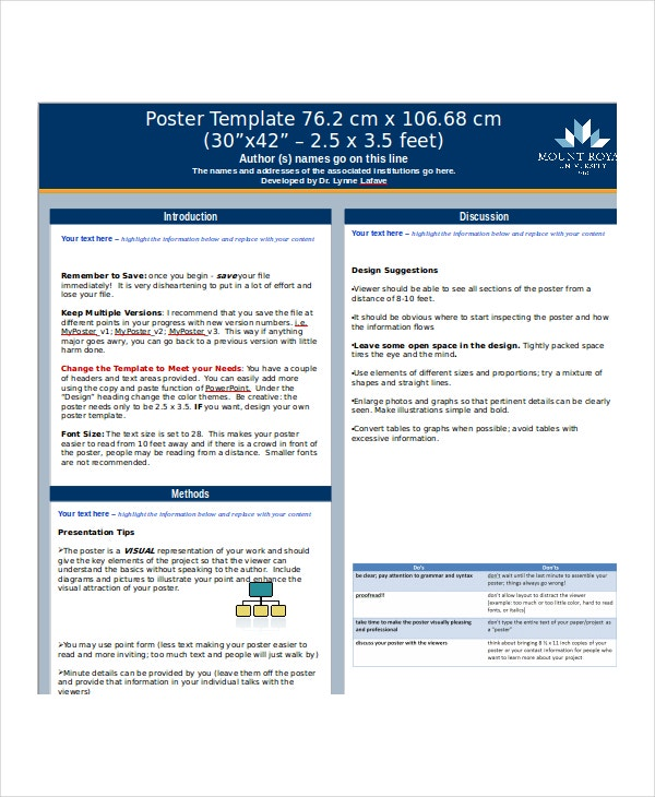 Microsoft Powerpoint Poster Template Iroshfo