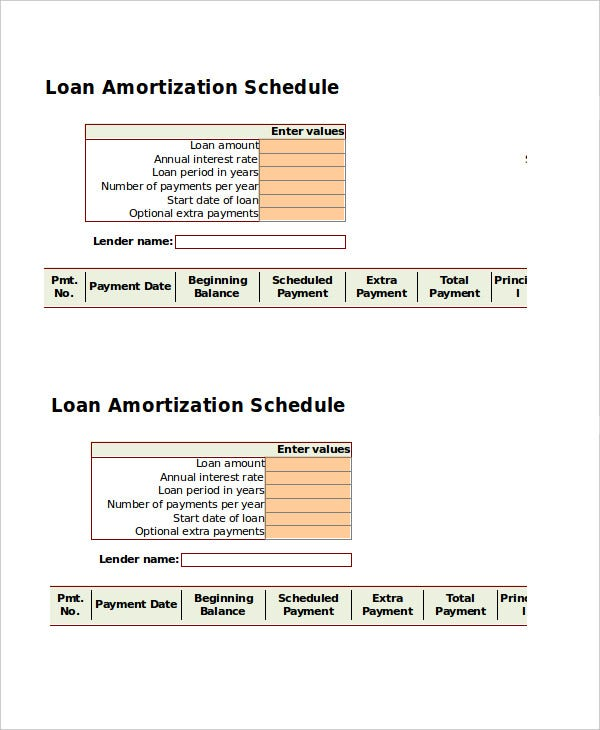Amortization Schedule Template   Free Word Excel Documents