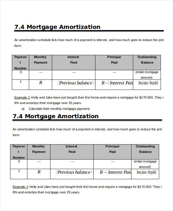 Mortgage Amortization Schedule Template