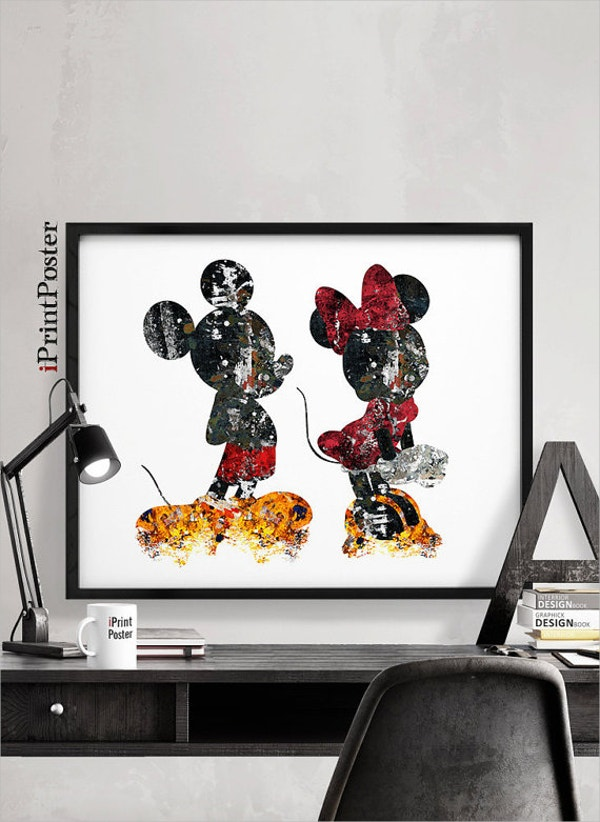 mickey minnie print disney posters