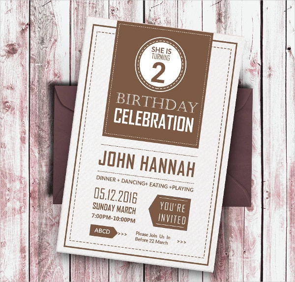 Retro Birthday Party Invitation Card Template