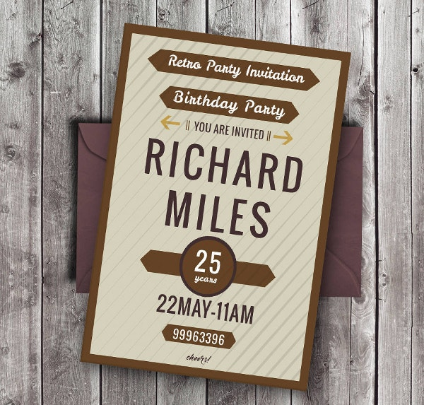 Retro Party Invitation Template