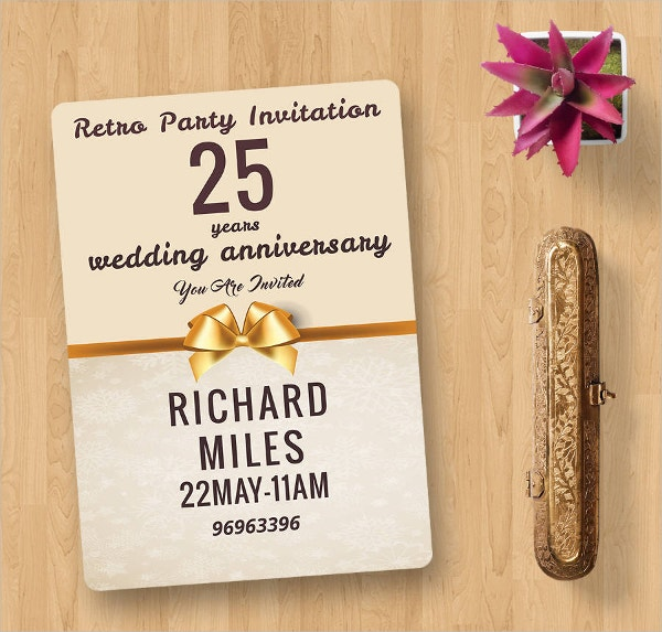 Retro Wedding Party Invitation Card