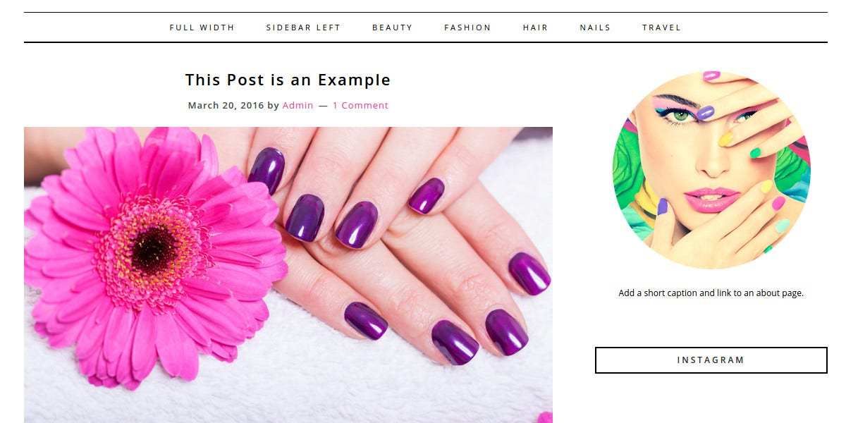 beauty nails blog wordpress theme 20