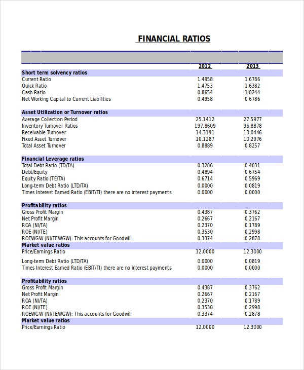 Financial Ratio Analysis Statement Example