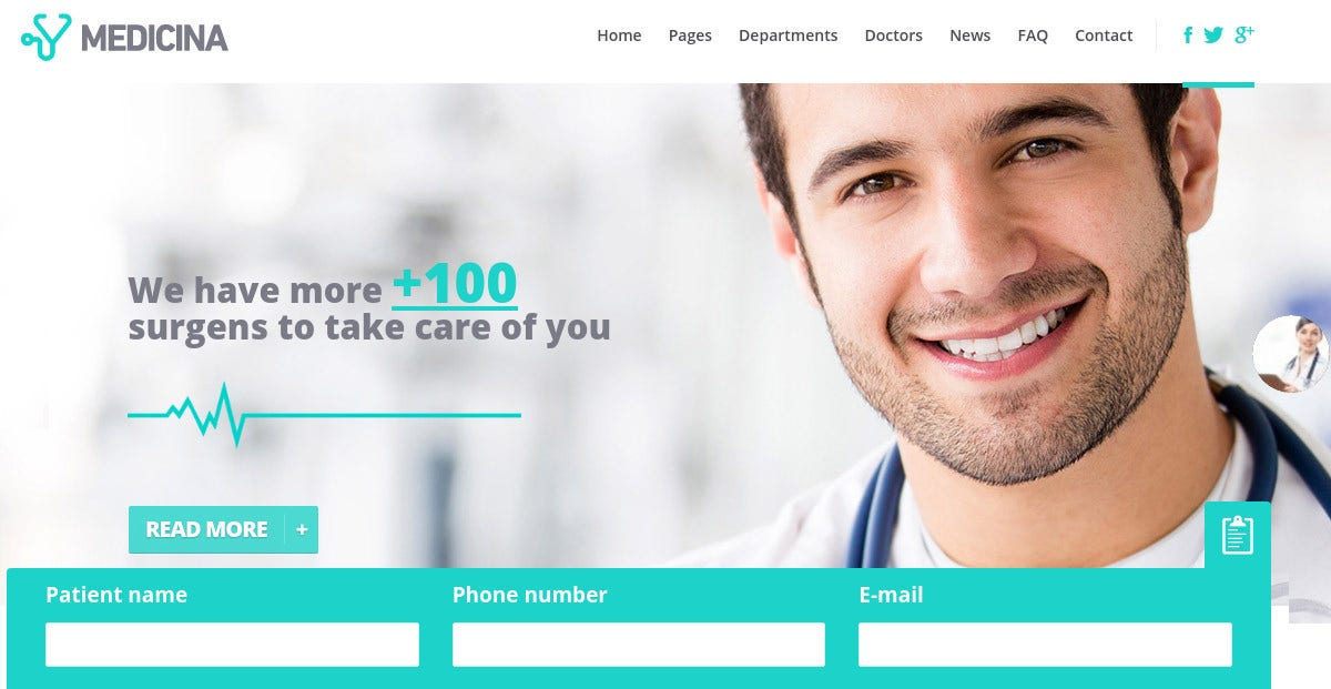Medical WordPress Website Theme $49