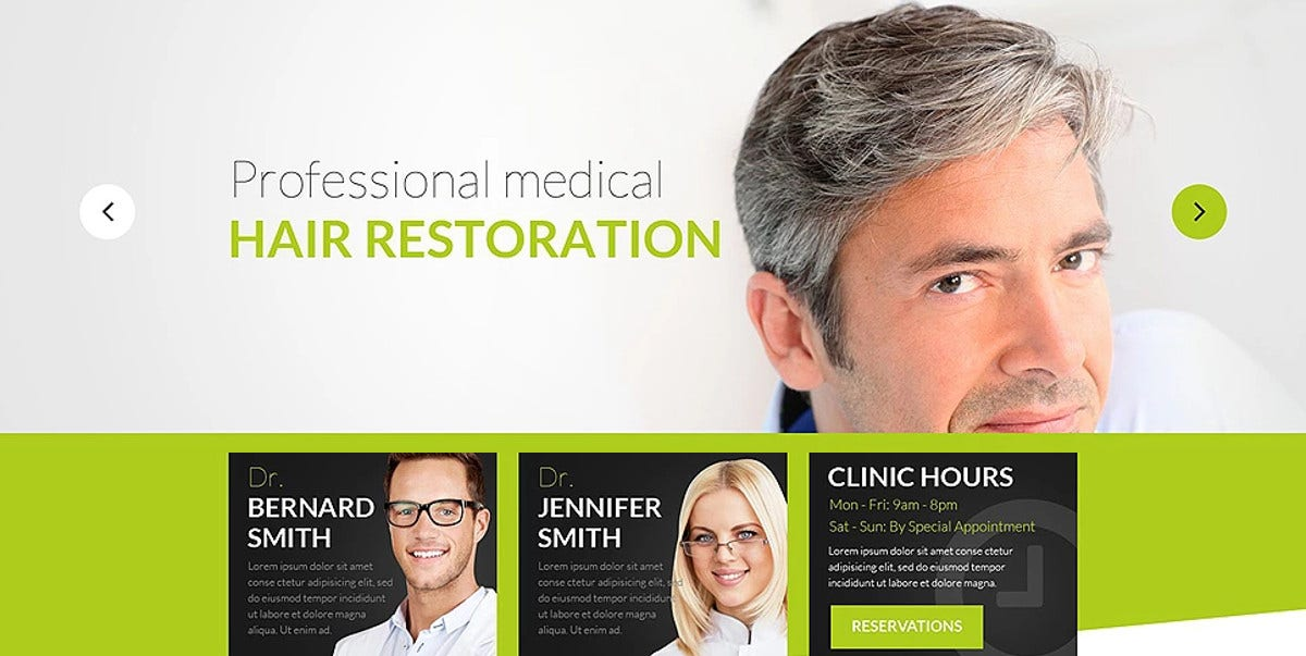 Professional Medical Hair Restoration WordPress Website Theme
