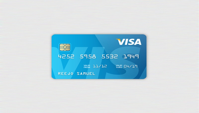 Blue Color Designed Credit Card