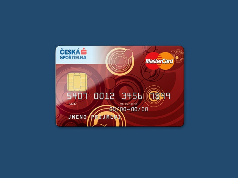 Colorful Credit Card Placed on Blue Background