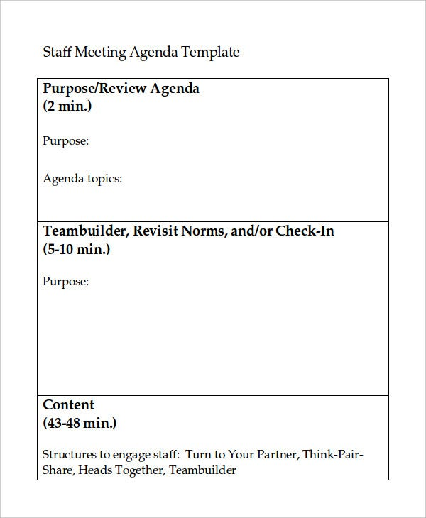 staff meeting agenda template word