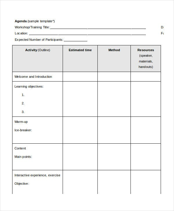 Word Agenda Template 6 Free Word Documents Download – Microsoft Word Agenda Templates