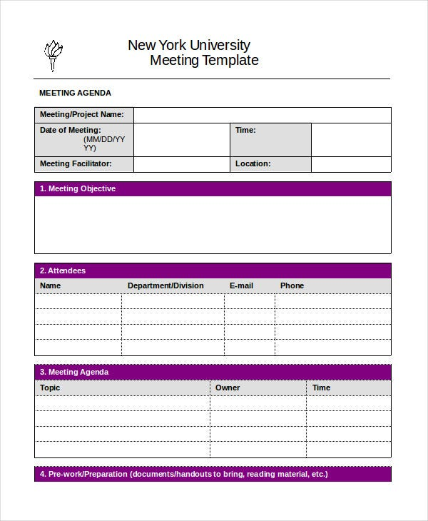 Project Meeting Agenda Template Word