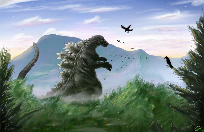 godzilla digital art paiting