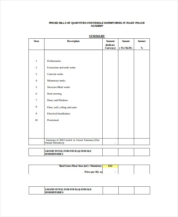 Bill Of Quantities Template Excel