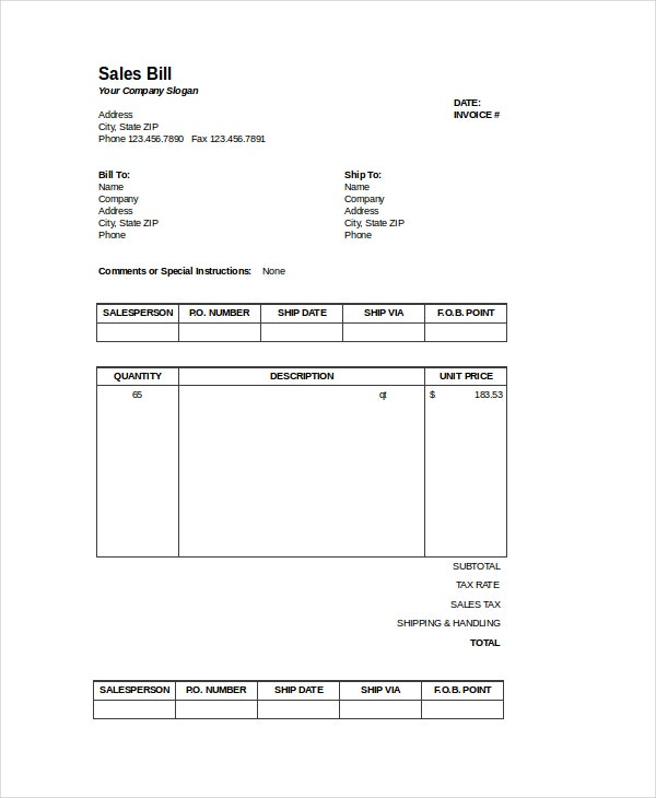 Sales Invoice Excel Bill Template