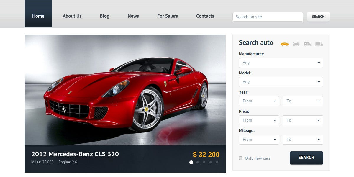 Car Dealer HTML Website Template $17