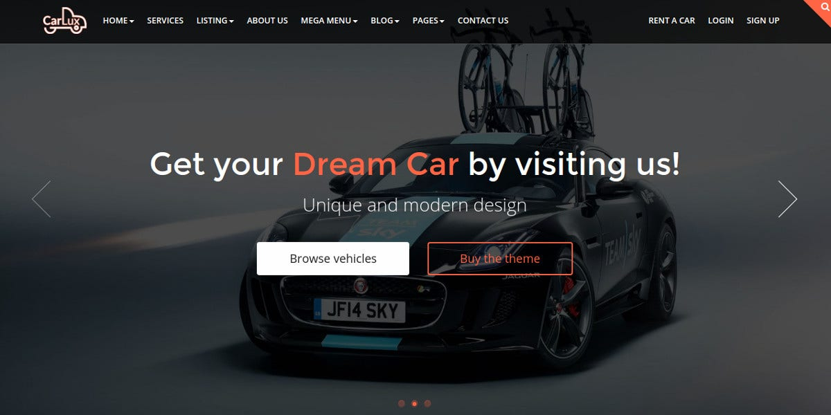 Responsive Car Dealer HTML Website Template $18