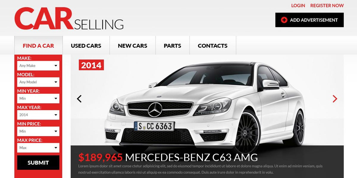 Car Dealer Responsive HTML Website Template $75