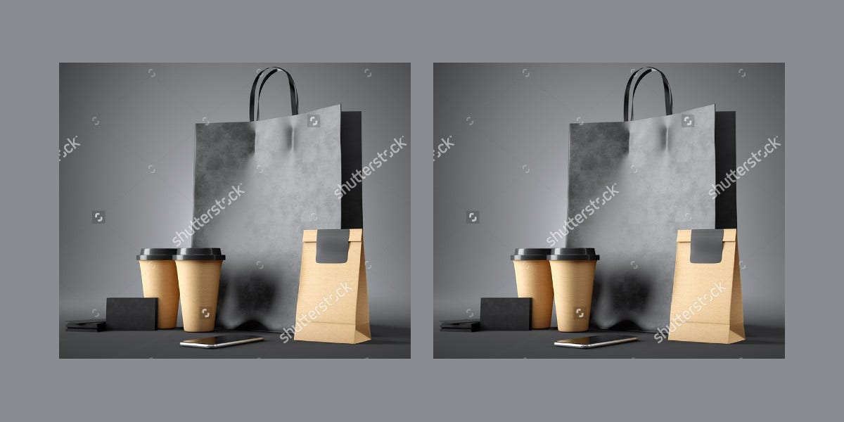 Black Shopping Bags with Coffee Cups