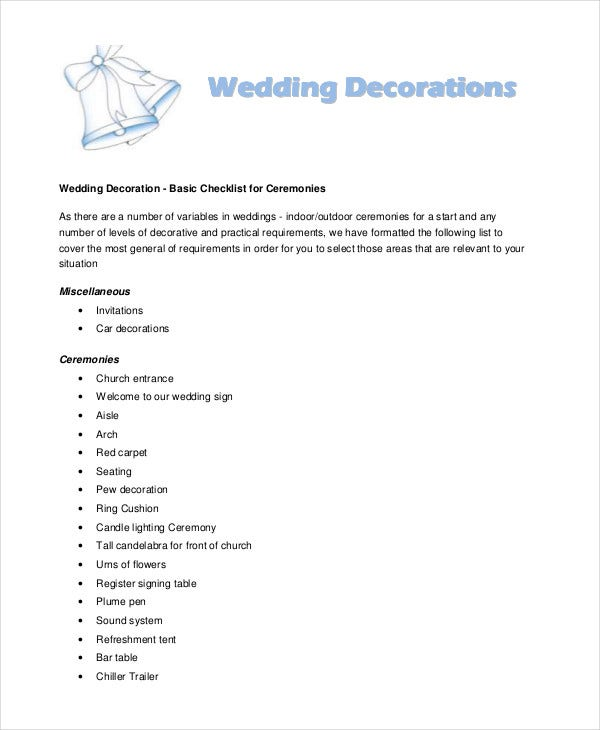 Simple wedding checklist 23 free word pdf documents download wedding decor checklist junglespirit Choice Image