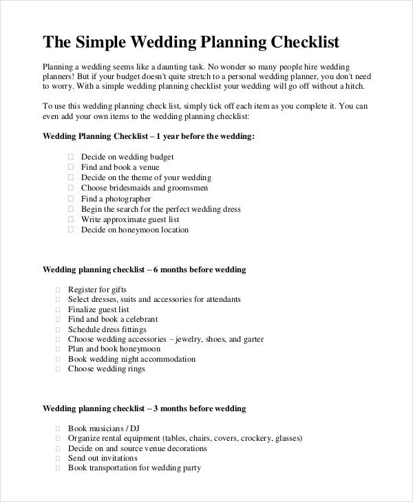 Simple wedding checklist 23 free word pdf documents download simple wedding planning checklist junglespirit Images