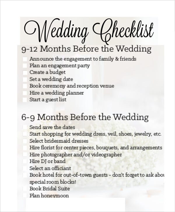 sample wedding checklist