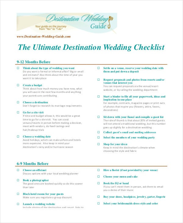 ultimate destination wedding checklist