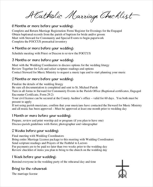 catholic wedding checklist