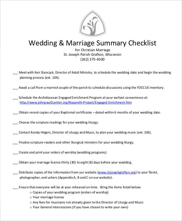wedding summary checklist