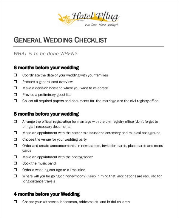 General Wedding Checklist