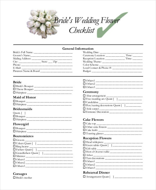 Simple wedding checklist 23 free word pdf documents download wedding flower checklist junglespirit Images