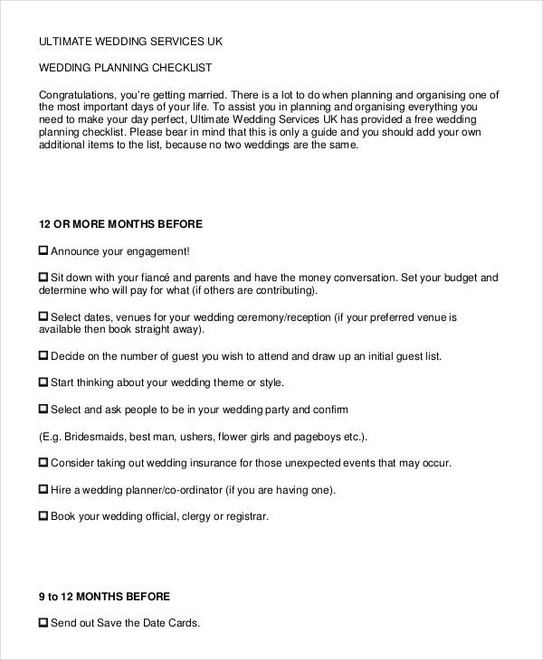 wedding services checklist
