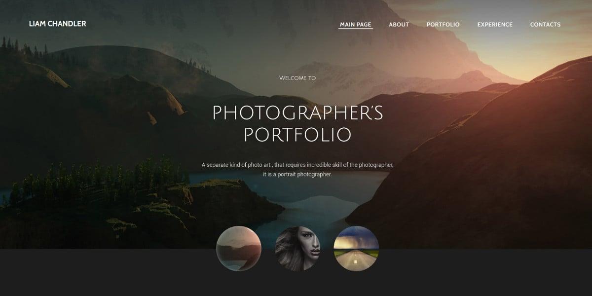 Amazing Photographer Portfolio Website Template $75