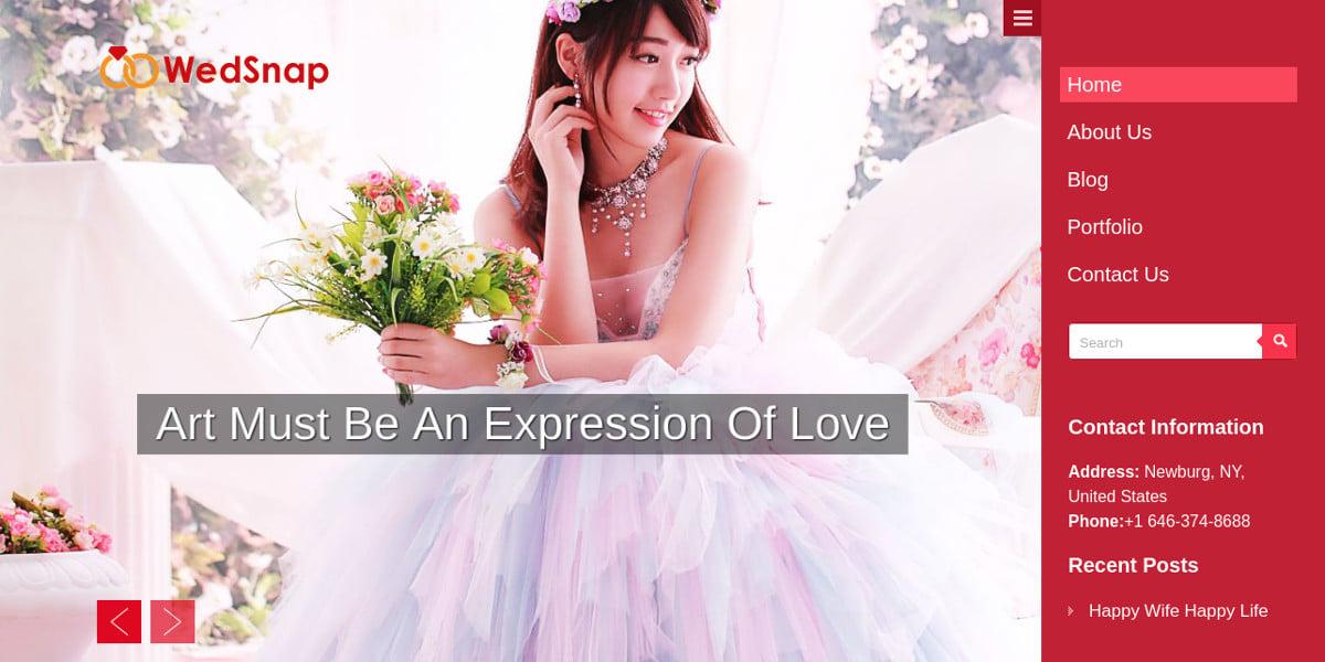 Wedding Photography WordPress Website Theme $69