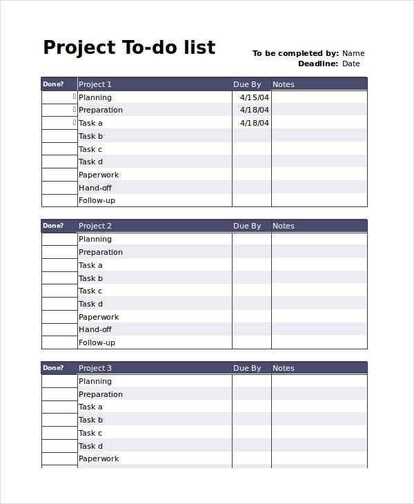 To do list 13 free word excel pdf documents download for Project listing template