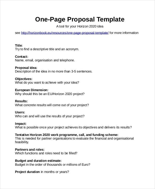 one page proposal template