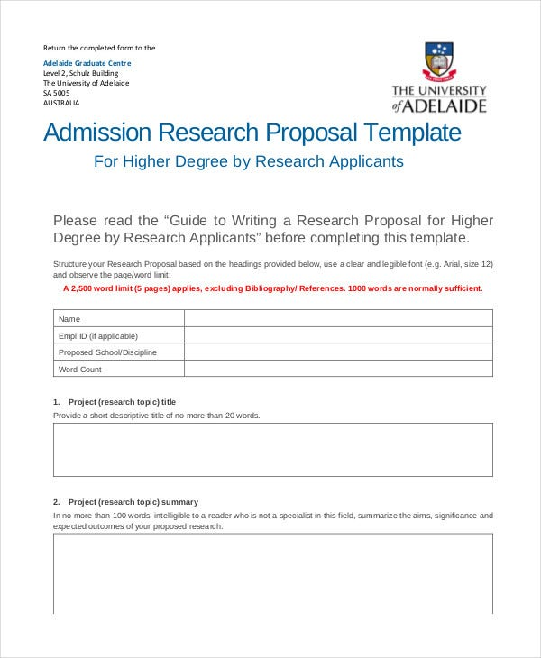 admission research proposal template