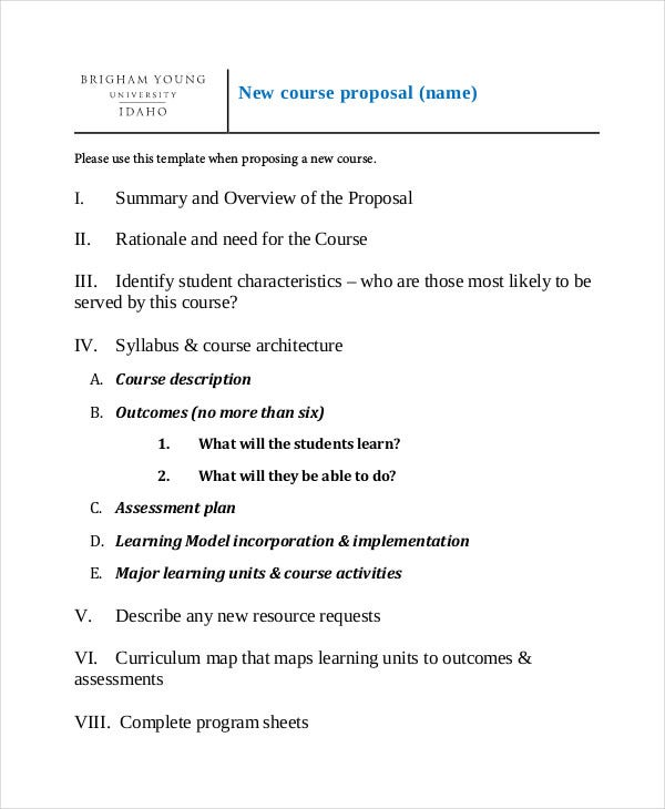 new course proposal template