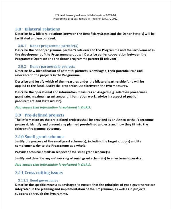 programme proposal template
