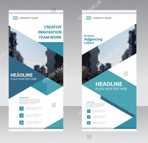 Blue Business Roll Up Banner Design Template