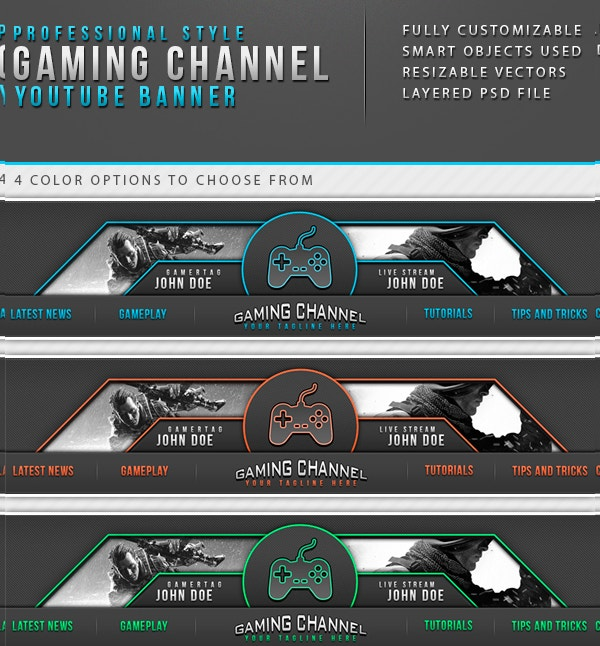 gaming channel youtube banner template